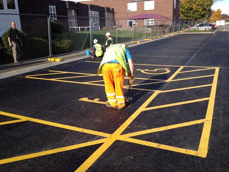 Car park construction and line painting