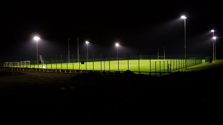 3G Pitch completed with fencing and floodlighting.